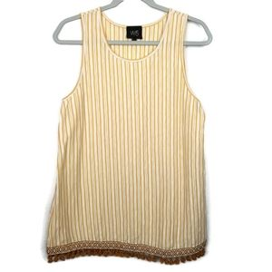 W5 Gold and Ivory Striped Tank Top with Tassels